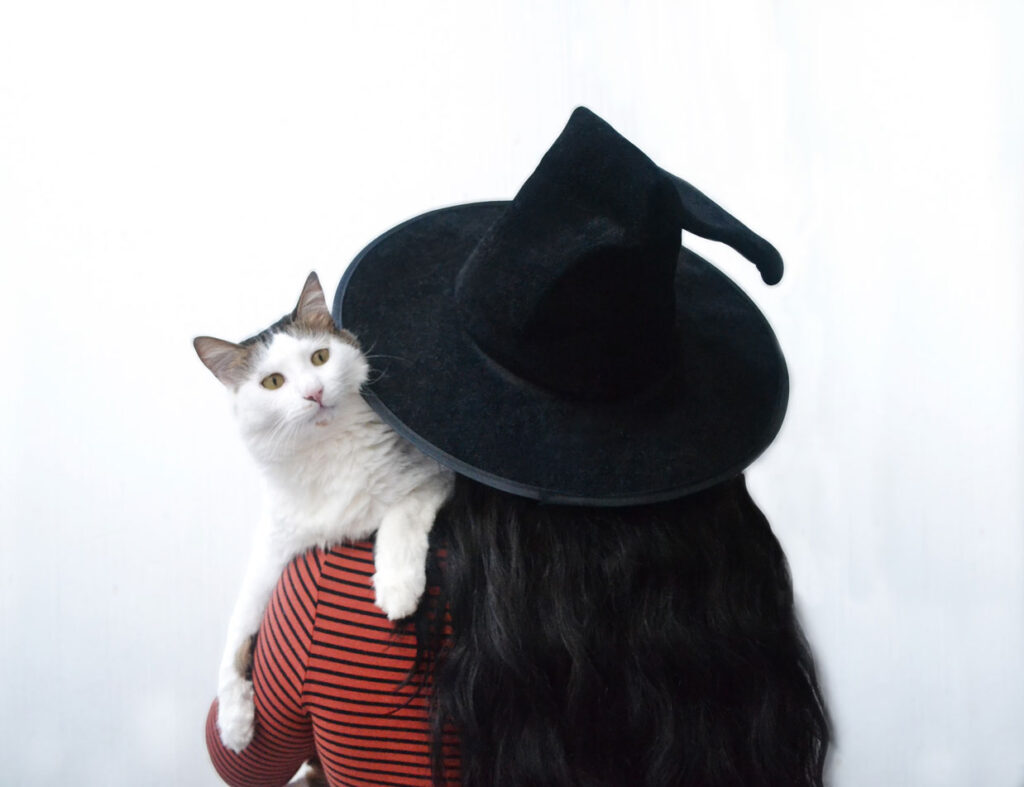 woman dressed in a witch hat holding a cat.